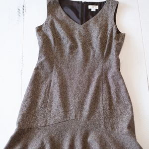 Ann Taylor Loft Brown Wool/Silk Mermaid Hem Dress